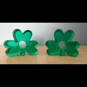 Green Clover Leaf Recycled Glass Candle Holders